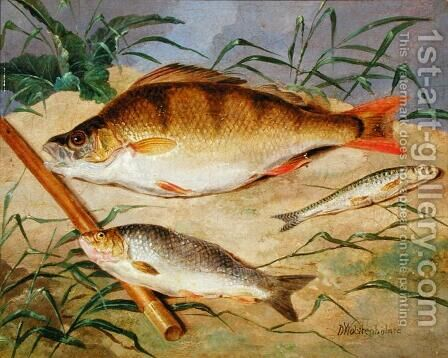 An Anglers Catch of Coarse Fish by Dean Wolstenholme, Jr - Reproduction Oil Painting