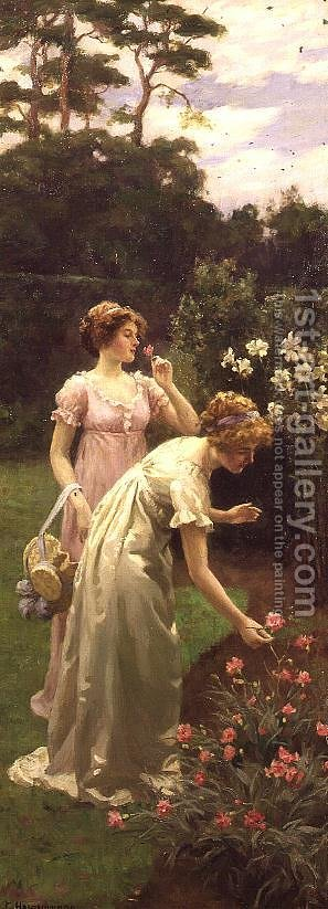 Two Ladies Picking Flowers by Charles Haigh-Wood - Reproduction Oil Painting