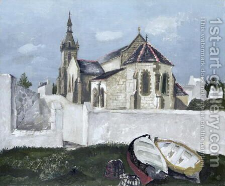 Treboul Church, Brittany, 1930 by Christopher Wood - Reproduction Oil Painting