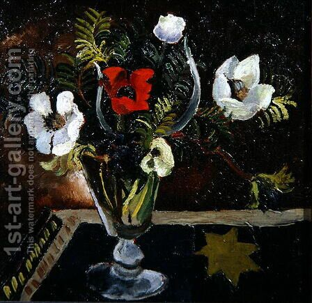 Anemones in a Glass by Christopher Wood - Reproduction Oil Painting