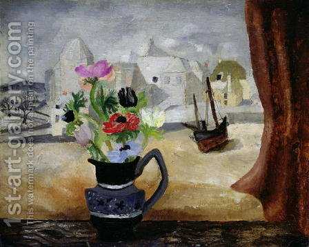Anemones in a Cornish Window by Christopher Wood - Reproduction Oil Painting