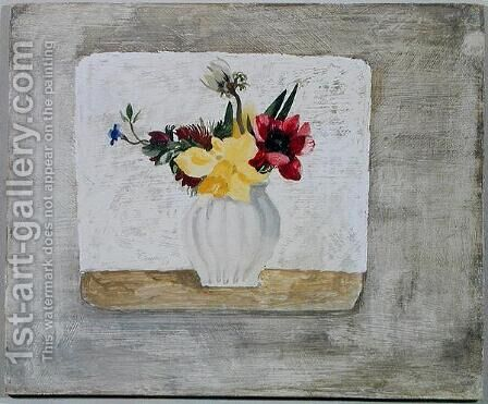 Spring Flowers in a White Jar, c.1930 by Christopher Wood - Reproduction Oil Painting
