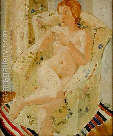 Seated Nude Girl in an Interior, 1928 by Christopher Wood - Reproduction Oil Painting