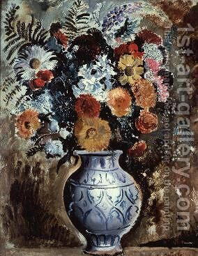 Flowers in a pot by Christopher Wood - Reproduction Oil Painting