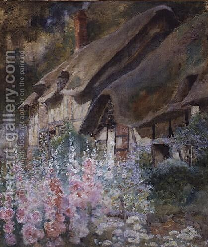 Hollyhocks by David Woodlock - Reproduction Oil Painting