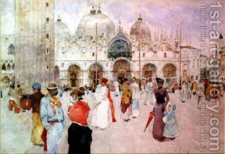 The Piazza di San Marco, Venice by David Woodlock - Reproduction Oil Painting