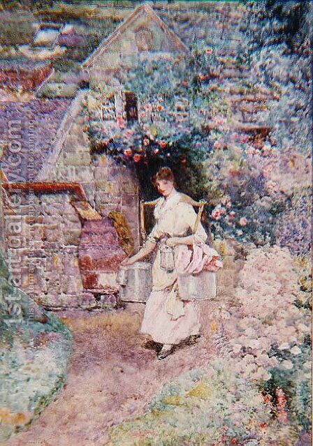 The Milkmaid, or An Old Surrey Cottage by David Woodlock - Reproduction Oil Painting