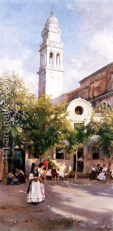 In the Piazza, 1894 by Henry Woods - Reproduction Oil Painting