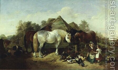 The Farmstead, 1858 by Henry Woollett - Reproduction Oil Painting