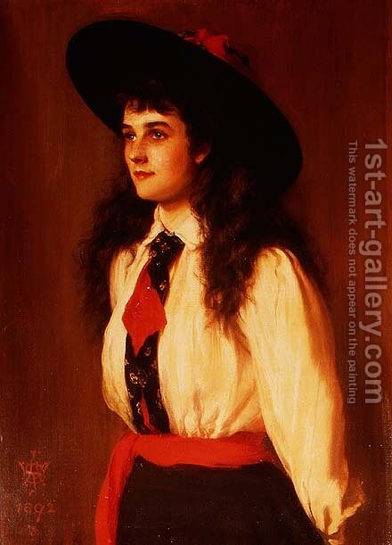 Portrait of a Young Woman said to be Miss Clare Davies, 1892 by Archibald James Stuart Wortley - Reproduction Oil Painting