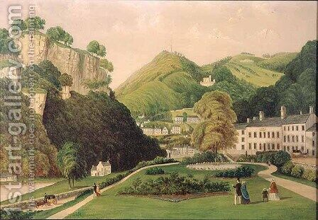 Matlock Bath from the grounds of the Bath Hotel, 1895 by E. Wray - Reproduction Oil Painting