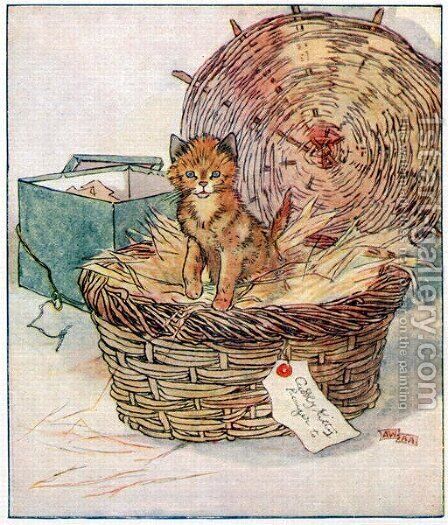 To Polly, sweetest girl in the world..., illustration from 'Cuddly Kitty and Busy Bunny', by Clara G. Dennis, published by Thomas Nelson and Sons, Ltd., 1926 by Alan Wright - Reproduction Oil Painting