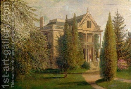 View of Dungan Manor House, Staten Island, 1876 by James Henry Wright - Reproduction Oil Painting