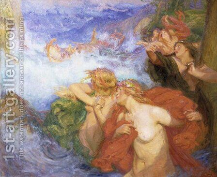 The Sirens by Charles William Wyllie - Reproduction Oil Painting
