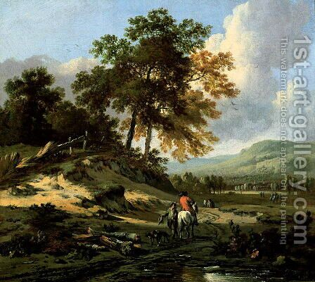 Landscape with Figures, 1679 by Jan Wynants - Reproduction Oil Painting