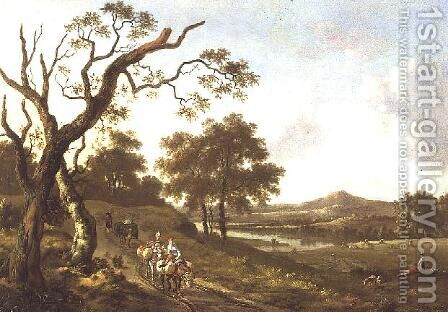 An Extensive Landscape with Pack Mules on a Country Road by Jan Wynants - Reproduction Oil Painting