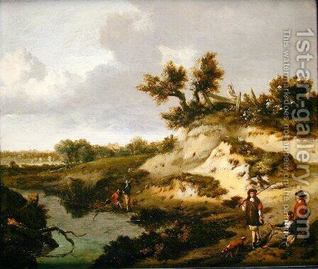 A dune landscape with figures by Jan Wynants - Reproduction Oil Painting