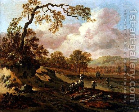 A Wooded River Landscape with Peasants on a Path by Jan Wynants - Reproduction Oil Painting