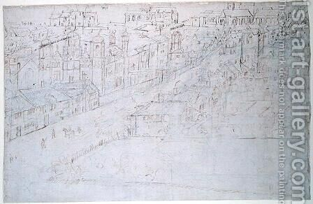 Borough High Street with St. Mary Overy, from The Panorama of London, c.1544 by Anthonis van den Wyngaerde - Reproduction Oil Painting