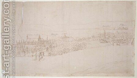 Westminster Palace, from The Panorama of London, c.1544 by Anthonis van den Wyngaerde - Reproduction Oil Painting