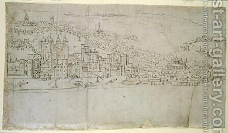 The Tower of London, from The Panorama of London, c.1544 by Anthonis van den Wyngaerde - Reproduction Oil Painting