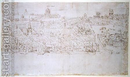 Billingsgate to Tower Wharf, from The Panorama of London, c.1544 by Anthonis van den Wyngaerde - Reproduction Oil Painting