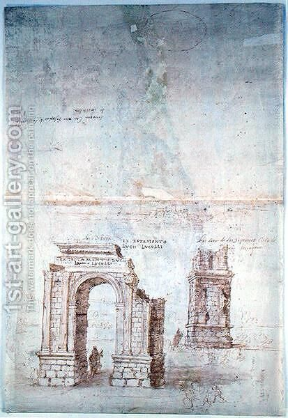 Sketches of Roman Ruins at Tarragona by Anthonis van den Wyngaerde - Reproduction Oil Painting