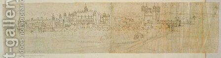 View of Hampton Court from the North, from The Panorama of London, c.1544 by Anthonis van den Wyngaerde - Reproduction Oil Painting