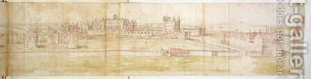 Hampton Court Palace from the North, from The Panorama of London, c.1544 3 by Anthonis van den Wyngaerde - Reproduction Oil Painting