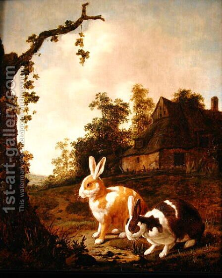Wooded landscape with two hares by Dirck Wyntrack - Reproduction Oil Painting