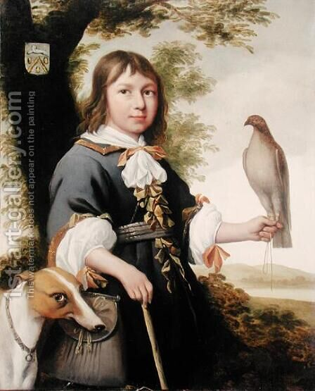 Boy with a falcon and a greyhound by Bernard Vaillant - Reproduction Oil Painting