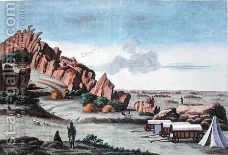 Klaas Baster Camp, from Voyages de M. le Vaillant dans l'Interieur de l'Afrique par le Cap de Bonne Esperance 1780-85, engraved by Hulk, published 1790 by (after) Vaillant, Francois Le - Reproduction Oil Painting