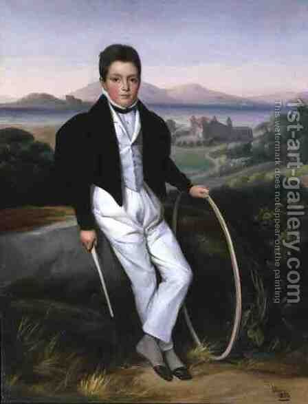Portrait of a Boy with a Hoop, said to be Ferdinando Maria of Savoy (1822-55) 1833 by Alexis Leon Louis Valbrun - Reproduction Oil Painting