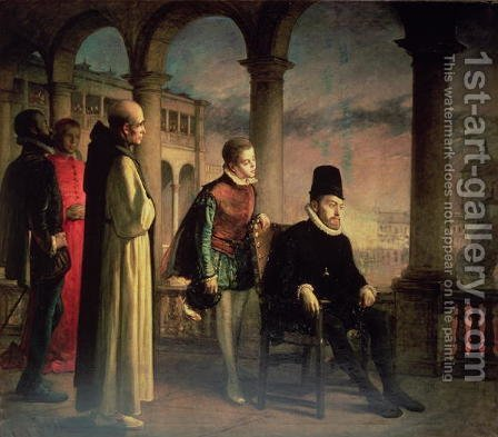 Philip II (1527-98) Declaring his Faith, 1871 by Domingo Valdivieso - Reproduction Oil Painting