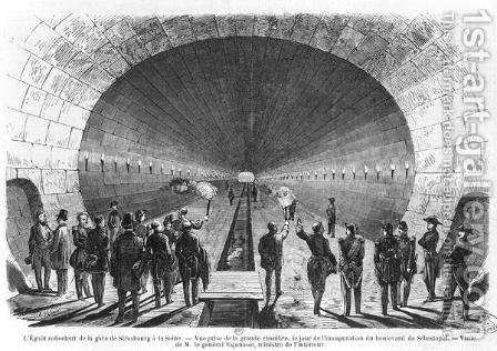Main sewer from the Strasbourg Station to the Seine. Official visit of the Minister of Interior, General Charles Marie Esprit Espinasse (1815-59) April 1858 by Henry Augustin Valentin - Reproduction Oil Painting