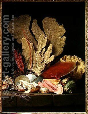 Seaweed, Lithophytes and Seashells by Anne Vallayer-Coster - Reproduction Oil Painting