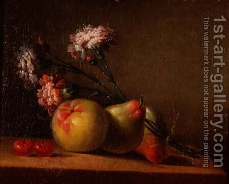 Carnations, pears, cherries and apple on a table by Anne Vallayer-Coster - Reproduction Oil Painting