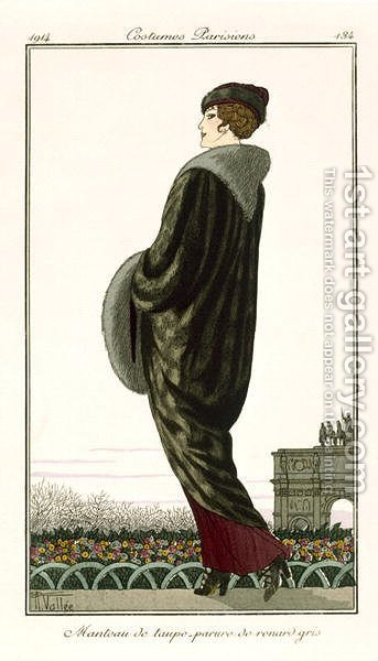 A coat of fox and mole hair, from Costumes Parisiens 1914 by Armand Vallee - Reproduction Oil Painting