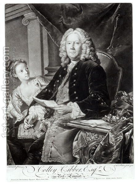 Colley Cibber (1671-1757) 1758, engraved by Edward Fisher (1722-85) by (after) Vanloo, Jean Baptiste - Reproduction Oil Painting
