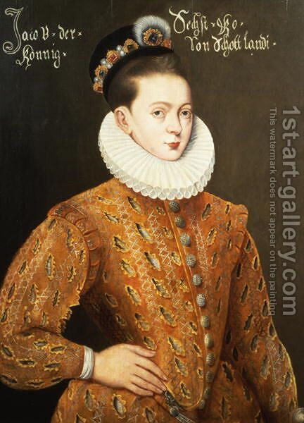 Portrait of James I of England and James VI of Scotland (1566-1625), purported to be the marriage portrait sent to the Danish Court to seduce Anne, his future wife by Adrian Vanson - Reproduction Oil Painting