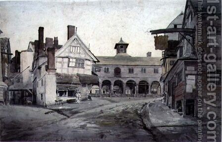 The Market Place, Ross, Herefordshire by Cornelius Varley - Reproduction Oil Painting