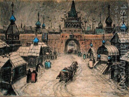 Old Moscow, 1908 by Apollinari Mikhailovich Vasnetsov - Reproduction Oil Painting