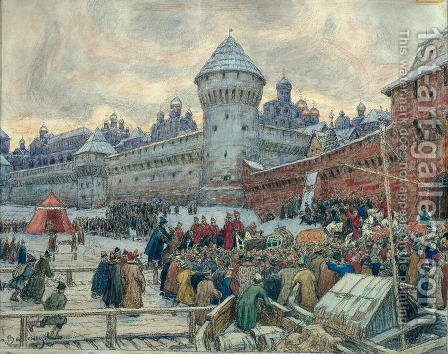Ancient Moscow, departure after a fight by Apollinari Mikhailovich Vasnetsov - Reproduction Oil Painting