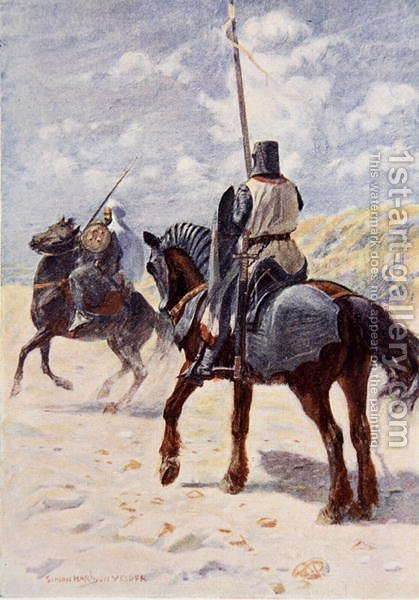 A Saracen approaches a Crusader Knight illustration for The Talisman A Tale of the Crusaders by Sir Walter Scott by Vedder Simon Harmon - Reproduction Oil Painting