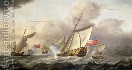 The Royal Yacht Mary Exchanging Salutes by Cornelis van de Velde - Reproduction Oil Painting