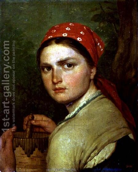 Girl with a Birch-Bark Jar, c.1824 by Aleksei Gavrilovich Venetsianov - Reproduction Oil Painting