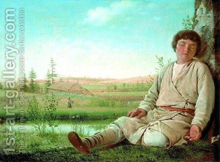 Sleeping Shepherd Boy, 1823-26 by Aleksei Gavrilovich Venetsianov - Reproduction Oil Painting