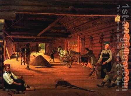 The Threshing Floor, 1821 by Aleksei Gavrilovich Venetsianov - Reproduction Oil Painting