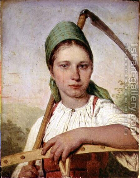 Peasant Woman with a Scythe and Rake, c.1825 by Aleksei Gavrilovich Venetsianov - Reproduction Oil Painting