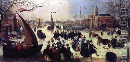 Skating Party by Adriaen Pietersz. Van De Venne - Reproduction Oil Painting